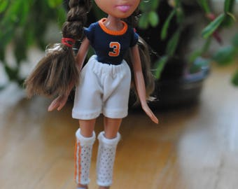 Repainted Bratz doll with soccer uniform and ball