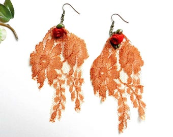 Large French Calais lace, coral earrings.
