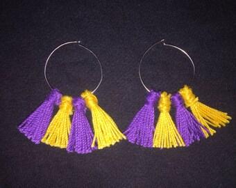 LSU Inspired Hoop Tassel Earrings