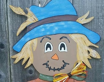 Scarecrow Door Hanger, Fall Door Hanger, Scarecrow Hanger, Halloween Door Hanger, Finished Scarecrow