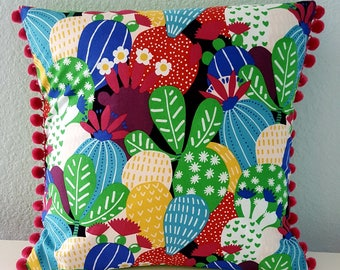Succulent and cacti luxury pillow cover with pom-pom trim