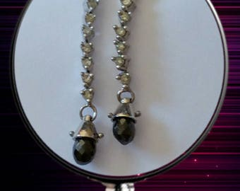 Black and White Briolette Dangle Diamond Earrings