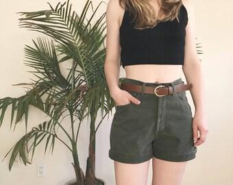 Guess high waisted shorts, 90s high waist denim shorts, army green cuffed summer cut offs, 27 waist