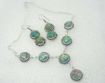 Dichroic Glass Necklace and Earrings Set Fused Dichroic Handmade