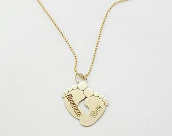 Kids Name Necklaces • Personalized Gift •  Footprint Necklace • Personalized Jewelry • Mothers Day Gift • Christmas Gifts Ideas For Mom