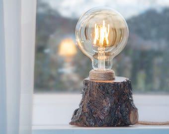 Wood lamp Edison light Wooden lamp Log lamp Rustic lamp Bedside lamp Wood lamp natural Wooden table lamp Desk lamp Floor lamp Led lamp