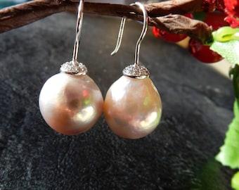 Big Gray Pearls  fishhook earrings, pearl earrings, 15mm, Handmade