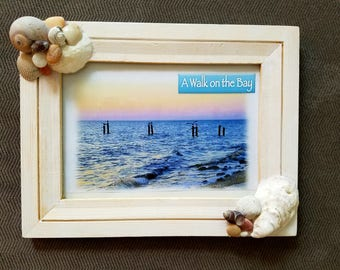 White-washed 5x7 wooden frame handcrafted with NJ seashells!