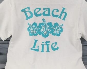 Beach Tshirt - Beach Life with Hibiscus Flower Tshirt- Beach Tee Shirt