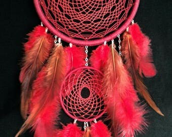 Red riding hood Dreamcatcher The Path Ruby Once upon a time Dream catcher Boho House Decor Feathers Bohemian Wall hanging