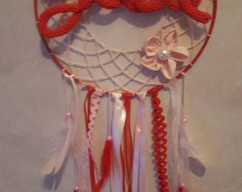Personalized red and pink dream catcher