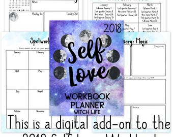 Witch Life: 2018 Self-Love Workbook Add-On | Pagan | Wicca | Planner