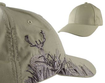 Custom Personalized White Tail Deer Large Embroidery Adjustable Full Fit Beige Baseball Cap Front Decor Selection Options for Side and Back