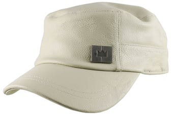Genuine Stone Beige Leather Low Profile Adjustable Army Cadet Flat Fashion Cap
