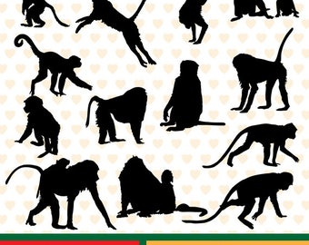 Monkeys  silhouettes sale, eps, svg, png and jpg files high resolution CL-SP-048