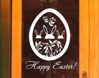 Happy Easter bunny display sticker