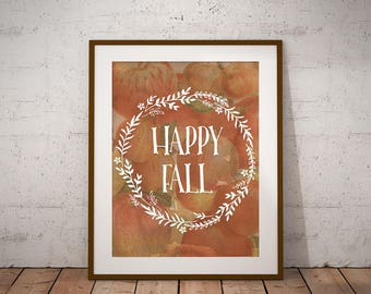 """Happy Fall - Autumn Apple Printable Art Instant Download 8.5""""x11"""""""
