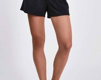 Julip Black or Maroon Classic Suede Shorts (Size XS - UK 8)