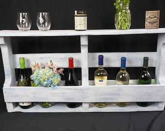 Distressed --Antique White-- Wine Rack