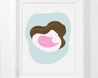 Little Girl, Nursery Print, Playroom Wall Art, kids Decor, Nursery Decor, Instant Download Printable Art, Mom and Girl, Mother