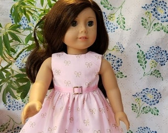 """Gold Bows on Pink Dress for  American Girl or 8"""" Doll"""
