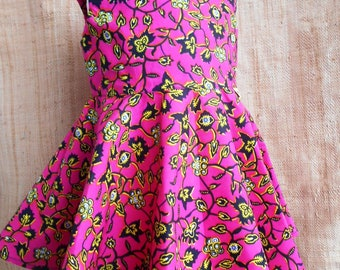 "African skater skirt ""flying"", baby dress and bloomer 12, 18 months dress girl 2 to 6 years, wax pattern pink floral dress"