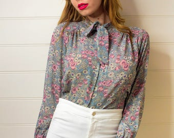 Vintage 70's floral print blouse, Floral blouse, Floral print top, 70s blouse, Pink blouse, Vintage blouse, Womens top, Womens blouse,