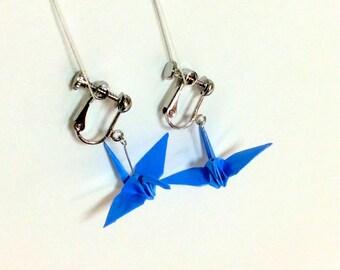 Origami earrings glossy blue, origami crane, origami anniversary, origami anniversary gift, origami gem, origami jewel, origami swan