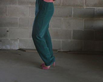 vintage silk minimal pants / silk suit set / emerald green silk trousers / us 6 / s / m / l