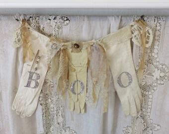 vintage white gloves shabby chic fall decor halloween decor chic