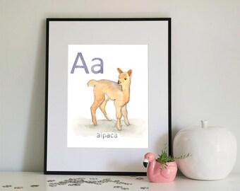 A is for Alpaca, alphabet series - Print of Original Watercolour