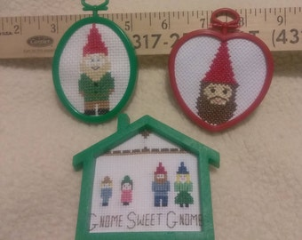 Three Framed Gnome Cross Pictures
