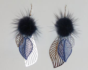 Earrings large leaf prints, flowers, tassels earrings, fur Navy Blue, silver, trendy 2018