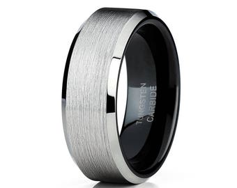 Black Tungsten Wedding Band Tungsten Wedding Band Men & Women Tungsten Carbide Ring Anniversary Band Silver Ring