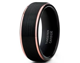 Rose Gold Tungsten Wedding Black Tungsten Ring Men & Women Tungsten Carbide Anniversary Ring Comfort Fit