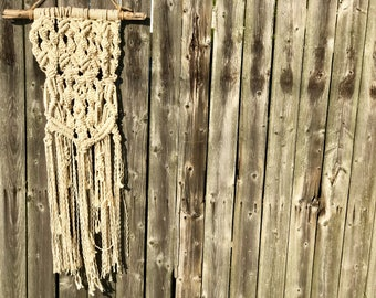 Macrame on Driftwood Wall Decor