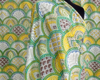 fabric, cotton multicolored arches green and yellow
