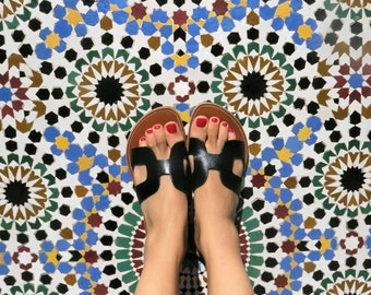 Black leather Morroccan sandals