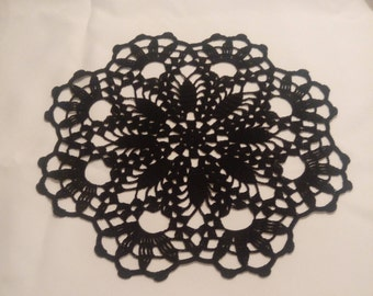 New black crochet doily - black doily - black home decor