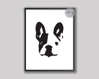 French Bulldog Print, French Bulldog Gift, French Bulldog Art, Bulldog Wall Art, Abstract Dog Art, Modern Wall Art, Printable Wall Art