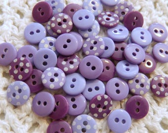 25 Assorted Mini Purple Buttons, Decorative Buttons, Doll Clothes Buttons, Scrapbooking Buttons, Cardmaking Buttons