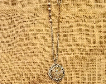 Vintage Brooch and Crystal Pendant Necklace