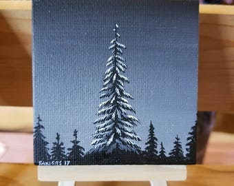 DARK SKY with Tree Painting w/ easel, Acrylic painting, Christmas Painting, mini canvas, forest painting, snow painting, winter painting