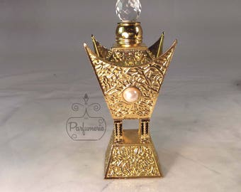 Pearl and Crystal Embellished Gold AlRehab Style Old World ATTAR Oil Oud PERFUME Cologne Bottle 12ML Gift Exotic Arabian Private Label
