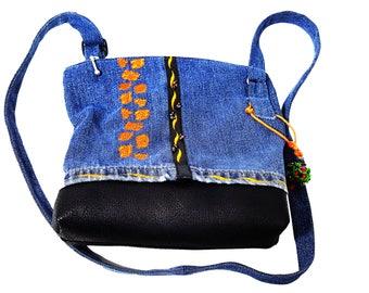 Jeansbag, Handmade purse, Embroidery bag denim , Bag handmade denim , Jean purse, Handbag denim, Shoulder bag,