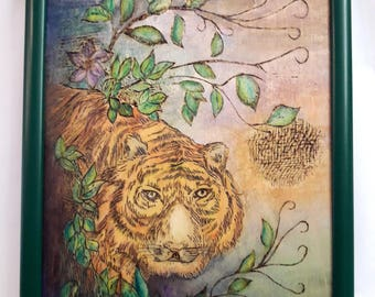 Tiger in the jungle - pyrography on wood, artwork, gift for a dear friend, home decoration, for all cat lovers