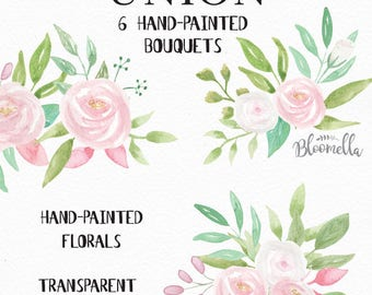 Watercolour Floral Clipart - 6 Bouquets Arrangements - Hand Painted INSTANT DOWNLOAD Wedding Spring Summer PNGs Pink White Flowers digital