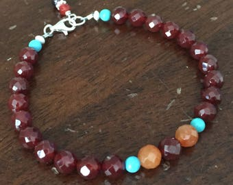 Faceted Red Agate Bracelet with Turquoise and Orange Agate Accents