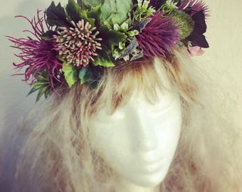 Wedding Floral Head Wreath Boho Green Violet