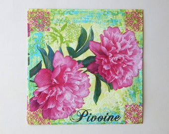 3 pink peonies 33 x 33 cm paper napkins